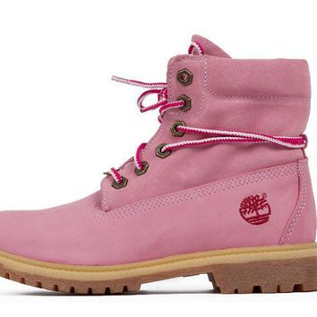 Timberland Rhubarb Boots Lapel Pink For Women Men Shoes Waterproof Martin Boots
