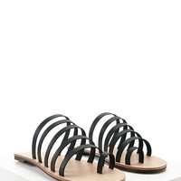 Faux Leather Toe-Loop Sandals