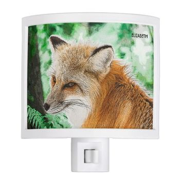 Cute Wild Red Fox Drawing Night Light