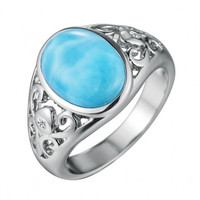 Sterling Silver Oval Larimar Filigree Ring