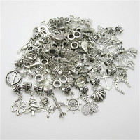 Mix charm 50pcs Tibetan Silver European pendant big hole beads fit for pandora style bracelet DIY jewelry making
