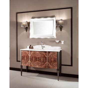 "GM Luxury Nouveau 48.4"" Bath Vanity Cabinet Set Single Sink, Briar Wood and Gray"
