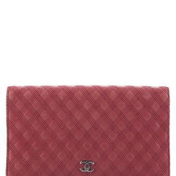 Chanel Chanel Red Quilted Lambskin Double Stitch Bifold Wallet | Bluefly.Com