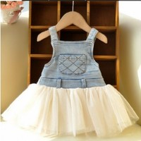 Vintage Inspired Girls Clothes Lillie Denim vintage-inspired dress | Vindie Baby