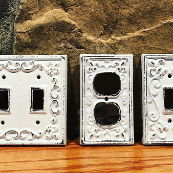 BIG SALE/Light switch plate/Light Switch Cover/Plug cover/Nursery/Bedroom/Cast iron plug/ Outlet Cover/ Shabby Chic/ Metal Plate Cover/