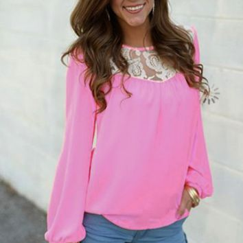 Pink Lace Long-Sleeve Chiffon Shirt