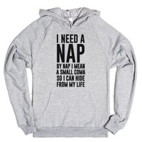 I Need A Nap-Unisex Heather Grey Hoodie
