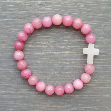 Pink Jade gemstone Bracelet w/ White Quartz Cross - Christian jewelry