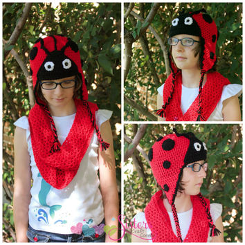 Crochet Ladybug Beanie Hat, Photo Prop, Picture Prop, Newborn, Baby, Infant, Child, Costume, Red Black, Lady Bug