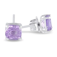 Sterling Silver 6mm Cushion Gemstone Solitaire Earrings