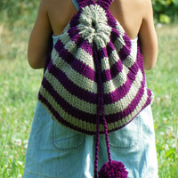 Knitting child bag, nursery school bag, fall autumn, Kids Backpack, purple mold green stripet Knit Bag , back to school, christmas gift idea