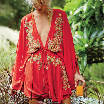 Boho dress sexy dress summer beach style cotton embroidered deep V-neck drawstring Waist Long Sleeve mini women brand clothing