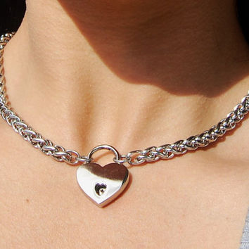 Sale! Solid High Quality 316L Stainless Steel Chain  Locking BDSM Day Collar Regularly 49.95