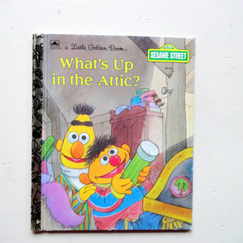 Vintage Bert and Ernie What's In The Attic Golden Book 1987