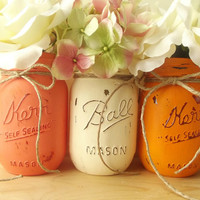 Hand Painted Mason Jars, Three, Rustic - Style, Painted Mason Jars -- Peach, Cream and Orange
