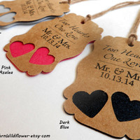 33 Metalic Colors, Two Hearts One Love Gift Tags, Mr and Mrs Tags - Wedding Favors, Extra Heavy Weight, Customizable Wedding Tags