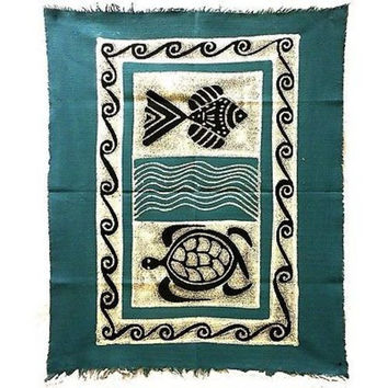 Sea Life Batik in Blue/Black Wall Hanging