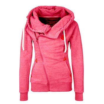 Women Pink Sports Hoodie Zip Parka Trench Outwear Tracksuit Sweatshirt Jumper Pullover Lady Coat Jackets Gift 25