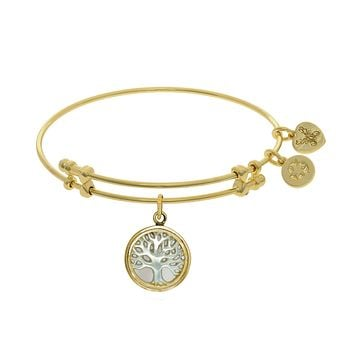 Tree Of Life Charm With Synthetic Mother Of Pearl Expandable Bangle Bracelet, 7.25""
