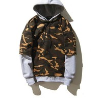 PEAPDQ7 Camouflage Color Stitching Long Sleeve Hoodies Pullover Sweater