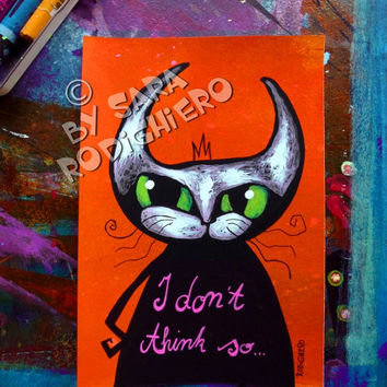 Emoticat  N.7 - I don't think so -orig. cat illustration on paper - Acrylic paint & watercolor - funny cats - pop art cat - Love