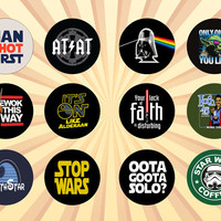 STAR WARS Humor Set of 12 - 1 Inch Pinback Buttons or Magnets