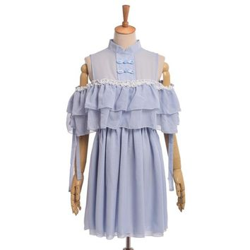Women Vintage Chinese Collar Cute Lolita Blue Chiffon Off Shoulder Dress
