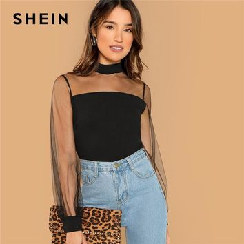 Black Sheer Yoke Long Sleeve Blouse