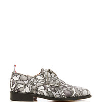 Toe Cap Oxford Shoe In Tonal Grey Floral Swirl Jacquard