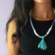 Summer Blues (FREE SHIPPING) Asymmetric Patterned Statement Rope Necklace