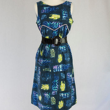 Vintage 1960's Hawaiian Sun Dress L Kamehameha Blue Tiki