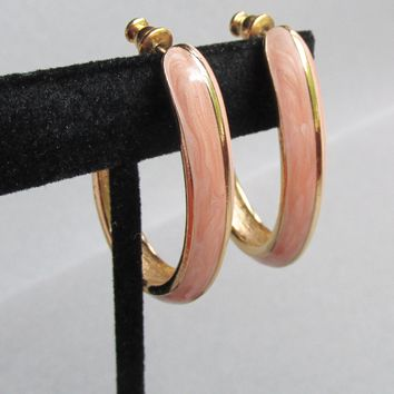 Signed TRIFARI Vintage Pink Enamel Oval Gold Tone Hoop Pierced Earrings