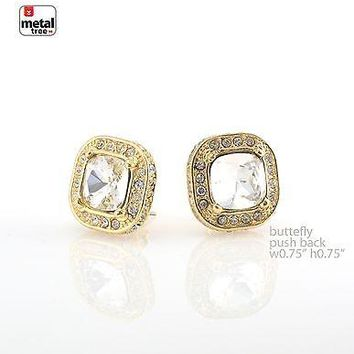 Jewelry Kay style Men's Hip Hop Iced CZ 14k Gold Plated Square Clear Solitaire Earrings ER 5001 CL