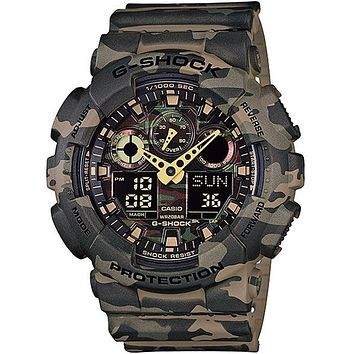 Casio Mens XL Trending G-Shock - Ana-Digi - Green Woodland Camouflage Design