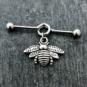 14 gauge Bumble Bee Industrial barbell/scaffold body jewelry .....Available Barbell sizes 32mm, 35mm, 38mm