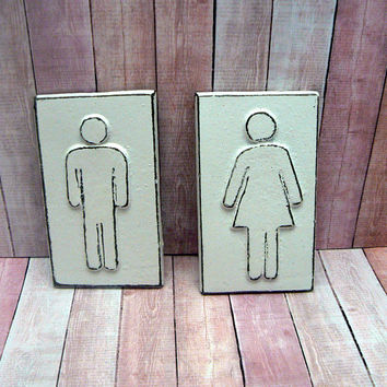 Restroom Bathroom Toliet Cast Iron Sign His Hers Women Men Ladies Gentlemen Plaque White Wall Door Decor Shabby Style Chic Office Business