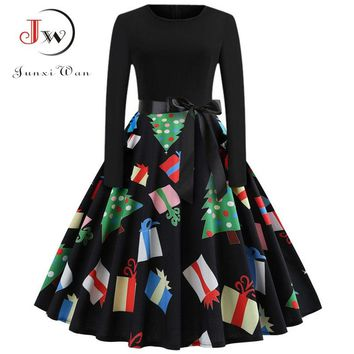 Vintage Dress Women Long Sleeve Printed Christmas Dresses Elegant Black Patchwork Sexy Swing Party Dress Plus Size Vestidos