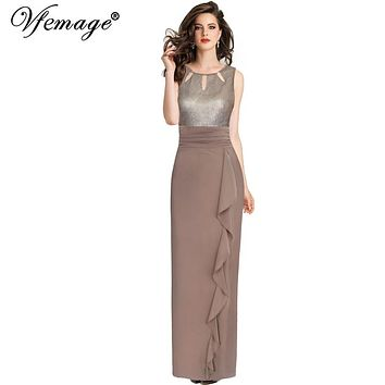 Vfemage Womens Elegant Sequin Ruched Ruffle Keyhole Formal Evening Gown Wedding Party Prom Special Occasion Maxi Long Dress 8401