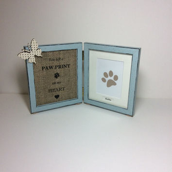 Paw print on heart frame, PERSONALISED dog memorial frame, pet loss photo frame, Remembrance gift, double frame, rainbow bridge, dog and c