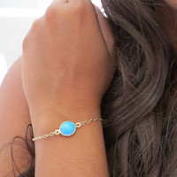 Turquoise Gemstone Bracelet, Round Cut genuine turquoise set in gold, dainty natural bracelet