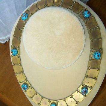 Vintage Egyptian Revival Necklace Collar Choker Blue Art Glass