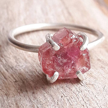 Pink Tourmaline Crystal Slice Ring - Pink Stone Ring - Raw Crystal Ring - Rough Crystal Ring - Boho Promise Ring - Valentine's Day Gift
