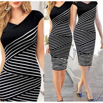 DCK9M2 Elegant Women Summer V Neck Dress Black and white stripe Stitching Pencil Dresses Lady Knee-Length Party Bodycon Dress