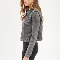 LOVE 21 Classic Collared Denim Jacket Grey