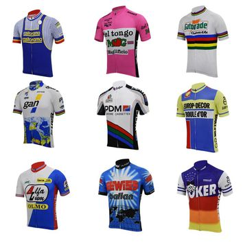 9 retro cycling jersey short sleeve summer pink blue white bike cycling wear racing clothing bicycle clothes braetan