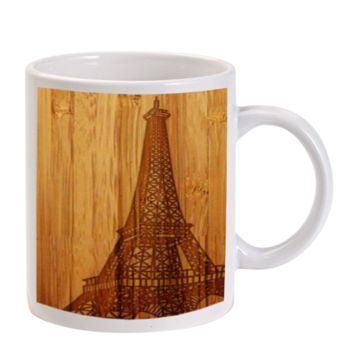 Gift Mugs | Eiffel Tower Wood Design Ceramic Coffee Mugs