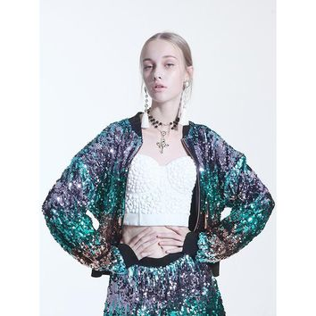 Galaxy Sequined Bomber Jacket In Glamorous Green And Purple