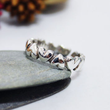 Heart Sterling Silver Ring/ Unisex ring/ Rustic Ring/ Adjustable Ring/ Silver Stacking Ring