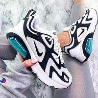 Nike Air Max 200 Sports Air Sneakers Contrast Polyline Print Shoes White+Blue Sole