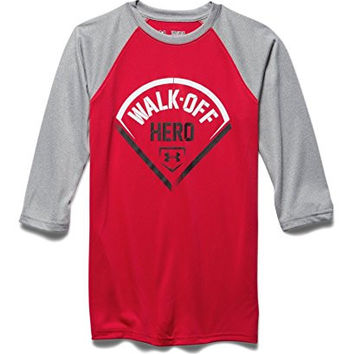 Under Armour Big Boys' UA Walk Off Hero ¾ Sleeve T-Shirt Youth Medium Red